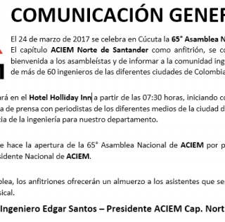 65º Asamblea de ACIEM Nacional en Cúcuta
